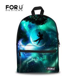 Wholesale print galaxy backpack - Wholesale- FORUDESIGN Brand 3D Galaxy Space Print School Backpack For Girls Teenager Backpack Kids Casual Children Women Travel Rucksack