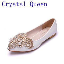 Wholesale Bridesmaids Wedding Shoes - Crystal Queen Gold Lace Pearl Flat Bride Bridesmaids Wedding Shoes Women's Shoes Female Appliques Shoes