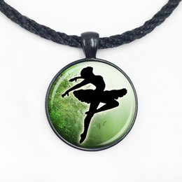 Wholesale crystal ballerina necklace - Wholesale Glass Dome Pendant art glass cabochon pendant ballerina over green tree background diy jewelry