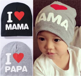 Wholesale i love baby - Baby Girls Hats Boys Spring Autumn Winter Cotton Hats Infant Unisex Soft Star Beanie i love mama i love papa Hedging Caps BH16