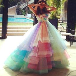 Wholesale Colorful Sweet 16 Dresses - Rainbow Prom Dresses Ball gown 2017 Sweetheart Tiered Tulle Colorful Prom Sweet 16 Party Dress with Flowers Quinceanera Dress Evening Gowns