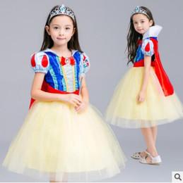 Wholesale White Velvet Cloak - Halloween Party Costume Children Cosplay Dress Snow White Girl Princess Dress Cloak Children Clothing Sets Kids Clothes Girls Dresses 833