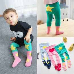 Wholesale Baby Star Leggings - New Cute baby Girls Pantyhose best cotton Children printing star Cartoon Tights Socks kids leggings Korean Girls Clothes Clothing A6767