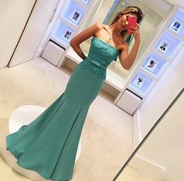 Wholesale Maid Collar - Real Images Prom Dresses Mermaid Style 2017 Sexy Strapless Lace Bodice Zipper Bow Belted Long Maid of Honor Dress Party Evening Gowns