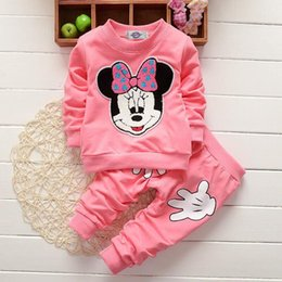 Wholesale Hoody Clothing Winter - Baby Clothes Cute Cartoon Minnie Printed Girls 2PCS Set Tops Pants Long Sleeve T-shirt Pullover Hoody Winter Children Kids Clothing 409