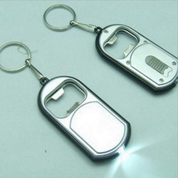 Wholesale Bottle Torch - 3 In 1 LED Flashlight Torch Keychain with Beer Bottle Opener Key Ring Chain Keyring Kitchen Tools Accessories 3*6.5cm