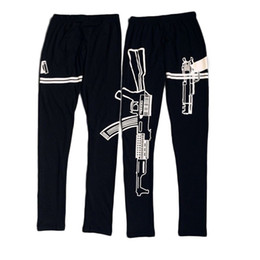 Wholesale Pants Machines - 2016 Personalized Black Elastic Cotton Leggings Machine Gun Pattern Printed Fitness work out leggings Slim Pants