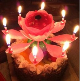 Wholesale paraffin lamps - Velas Decorativas Newest Music Candle Birthday Party Wedding Lotus Sparkling Flower Candles Light Event Festive Supplies Ems free