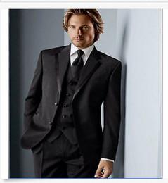Wholesale Western Coat Pant - Black Mens Coat Groom Western Wedding Tuxedo Blazer Suits Jacket Pants vest tie