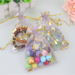 Wholesale Wholesale Bags Cheaper - Wholesale-2016 Hot Sale Light Purple100pcs lot 9x12cm Bronzing Organza Bags With Gold Heart Gift Sack Cheaper Samll Coffee Beans Bags