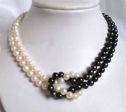 Wholesale White Akoya Cultured Pearl Necklace - 2Rows 7-8mm Black  White Akoya Cultured Pearl Necklace M014