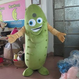 Wholesale Cucumber Mascot Costume - 100% real photo of Good vision green cucumber mascot costume for adult to wear for sale