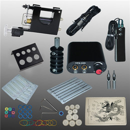 Wholesale Tattoo Complete Disposable Kits - Complete Tattoo Kits Tattoo Guns Machine Black Tattoo Machine Power Supply Disposable Needle Free Shipping 1100608-1kit