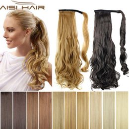 Wholesale Long Wavy Ponytail - Wholesale-Synthetic Long Wavy Clip In Wrap Around Ponytail Fake Hair Extension False Hair Ponytails Pad Hairpiece pony Tail Curly Piece