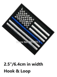 Wholesale Patch Military - Thin Blue Line US USA United States American Flag Hook & Loop Patches Embroidered MORALE MILSPEC MILITARY SWAT Outdoor