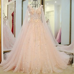 Wholesale Luxury Banquet Dress - 2018 Romantic Colorful Sweet Flower Fairy Wedding Dress Bride Banquet Luxury Deep Vneck A-line Organza Formal Bridal Gowns with Veil