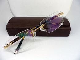 armações de óculos Desconto Qualidade barato óculos de prescrição quadro sem aro retangular quadro prancha de tartaruga pés três cores óculos para homens 58050