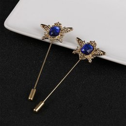 Wholesale Wholesale Eagle Brooch - Fashion Men Lapel pin suit Boutonniere button blue Rhinestone Brooches Tiara eagle crown Brooch Hijab pin women Long stick Broches Holiday