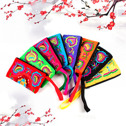 Wholesale Ladies Cluth Wallet - Vintage Ethnic Long Cluth Bag Fashion Coin Purse Wallet Embroidered Women Ladies Bags Handbag