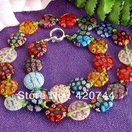 Wholesale Twist Lampwork - 3PCS Lot Millefiori Glass Lampwork Murano Coin Beads Necklace HOT