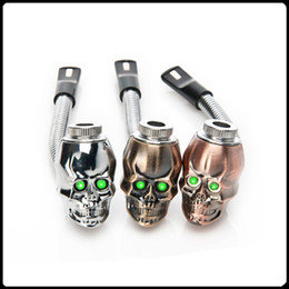 Wholesale Black Rasta - Skull shape metal smoking pipe LED 3 colors flexional flectional Smoking Pipes Tobacco Pipe Cigarette Smoking Pipe rasta reggae pipes