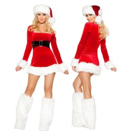 Wholesale Costume Santa Claus Woman Sexy - HOT 2016 SALE! Adult Sexy Christmas Miss Santa long sleeve Dress Xmas Party Costume Halloween Little Helpe with hat and covers 029