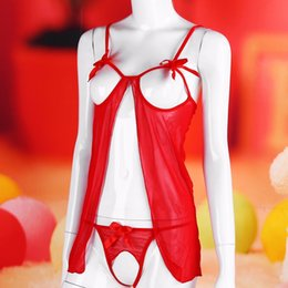 Wholesale Naughty Women Sexy Hot Underwear - Sexy lingerie hot open crocth naughty woman sexy costumes exposed breasts pole dance babydoll sexy underwear sex products KY150