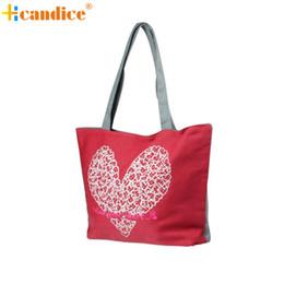 Wholesale Heart Shaped Red Handbag - Wholesale-Naivety 2016 New Heart-Shaped Print Pattern Canvas Shoulder Bags Lady Fashion Handbag JUN28