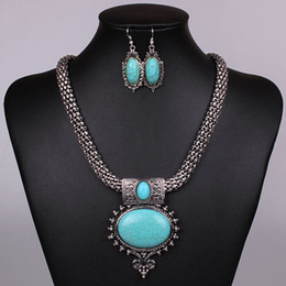 Wholesale Earrings Tibetan Resin - New Women Jewellery Tibetan Silver CZ Crystal Chain Pendant Necklace Earrings Set Round Turquoise Jewelry sets