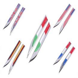 Wholesale England Stickers - 1Pair Auto Motorcycle Car Blade Fender Stickers England Italy American Germany French Flag Style Door Window Decoration Decal