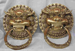 Wholesale Brass Dog Statue - China Dynasty palace Pure Brass Iion Foo Fu Dog Statue Door knocker Pair