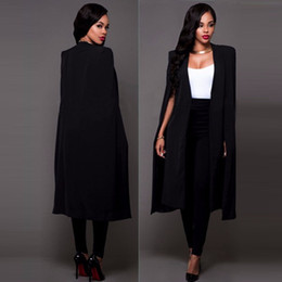 Wholesale White Cloak Full Length - 2017 autumn Spring jacket women fashion Black White coat outerwear cloak Blazers suits Cardigan Casaco Feminino