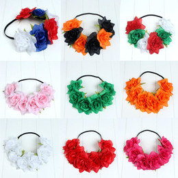 Wholesale Elastic Hair Accesories - Euorpean Style Flower Headband Elastic Hair Band Women Girls Headwear Hair Accesories Halloween Party Favor