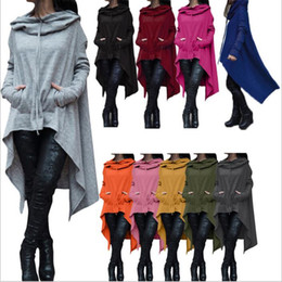 Wholesale Sleeve Irregular Long - Fashion Hoodies Irregular Long Sleeve Jackets Women Solid Casual Coat Autumn Blouses Sweatshirts Pullover Outwear Jumper Women Clothes B2739