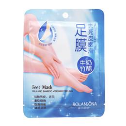 Deutschland 2 stücke = 1 paar ROLANJONA Fußmaske Fußbehandlung Bleaching Milch und Bambusessig Peeling Ausschreibung Füße Maske Baby Fußmaske Versorgung