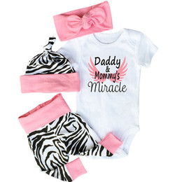 Wholesale Toddler Tight Shorts - 2017 New Baby Outfits Zebra Short Sleeve Romper+ Pants Tight+Hat+ Bow headband Toddler Cotton 4pcs Sets Fashion Infant Clothing Suits A6055