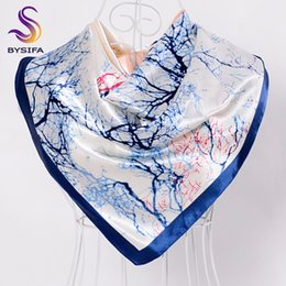 Wholesale Scarves China Wholesale Men - Wholesale- [BYSIFA] Silk Scarves China 2016 New Tree Pattern Female Large Silk Scarf Multi Head Scarves Luxury Blue Satin Winter Scarves