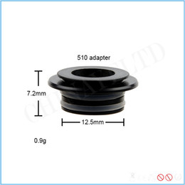 Wholesale Drip Tip Adapters - Black color 12.5mm 510 drip tip adapter for non 510 threaded tank ecig accessories common size of all goon tips high quality free shipping