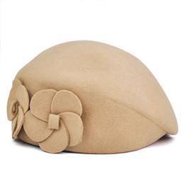 Wholesale Wool Felt Flowers Wholesale - Wholesale-NEW Women Wool Autumn Winter 2 Flowers Beret Hat Felt Hat (Beige)