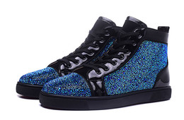 Wholesale Crystal Lace Shoes - New 2017 mens and womens crystal blue rhinestone with black genuine leather high top red bottom sneakers,designer causal sports shoes 36-46