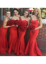 Wholesale Satin Sweetheart Wedding Fitted - Popular Red Mermaid Bridesmaid Dresses 2017 Long Bridesmaids Dress With Sweetheart Neck Zipper Back Fitted Wedding Guest Dress Cheap