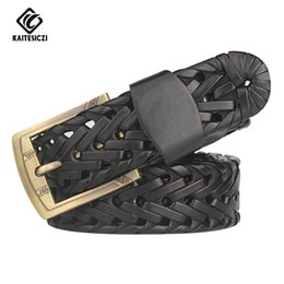 Wholesale Hand Woven Belts - Wholesale- [KAITESICZI] 2017 hand-woven leather belt men's belts new casual leather men's belt pin buckle high quality brand belt