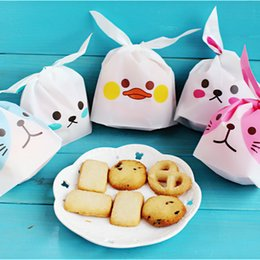 Wholesale Wholesale Cookie Bags Supply - Large Cute Rabbit Ear Cookie Bags Plastic Candy Biscuit Packaging Bag Wedding Candy Gift Bags Party Supplies