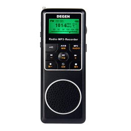 Wholesale Degen Sw Radio - Wholesale-Original Degen DE1127 FM Stereo Radio AM MW SW Receiver 4GB MP3 Player Digital Recorder portable Radio D2975A free shipping