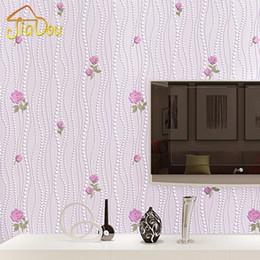 Wholesale Vertical Striped Wallpaper - Non-woven Flocking Wallpaper Modern 3D Flower Living Room TV Background Home Decor Wall Paper Bedroom Vertical Striped Wallpaper