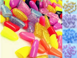 Wholesale Nail Tables Wholesale - 20 PCS lot Soft Random 22 Color Caps Nail Covers Claw Caps for Cat Pet Kitten Dog With Glue Claws Control Off C168S