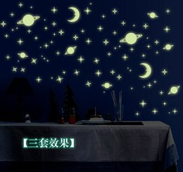 Wholesale Moon Stars Decor - Y0036 Glow In The Dark Sticker Home Decor Wall Sticker Moon Stars Global Decals Kids Baby Gift DIY Moon House Luminous Stickers