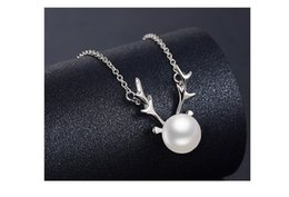 Wholesale Birthday Gifts For Ladies - 60pcs S925 Silver Necklace Natural Pearl Deer Pendant for Birthday Gift Ladies' Pendant Jewelry 2colors R015
