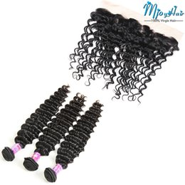 Wholesale Swiss Lace Brazilian Closure - Brazilian Deep Wave Hair Bundles Extensions With Swiss Lace Frontal,3pcs Human Hair Wefts with 13*4 Ear to Ear 1pcs Lace Frontal Closure