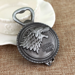 Wholesale Game Housing - New Winter Is Coming Game Of Throne Bottle Opener Keychain House Stark Key Chain Ring For Beer Opener Kitchen Tools KCA1136